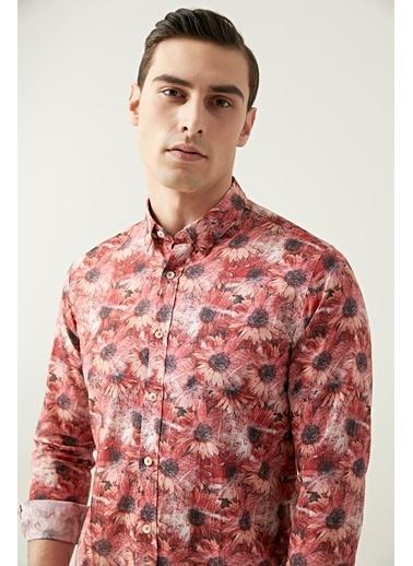 Tween Slim Fit Desenli Gömlek Kırmızı